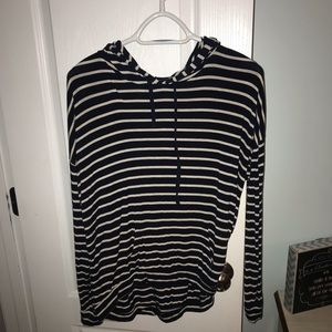 Striped hooded long sleeve shirt